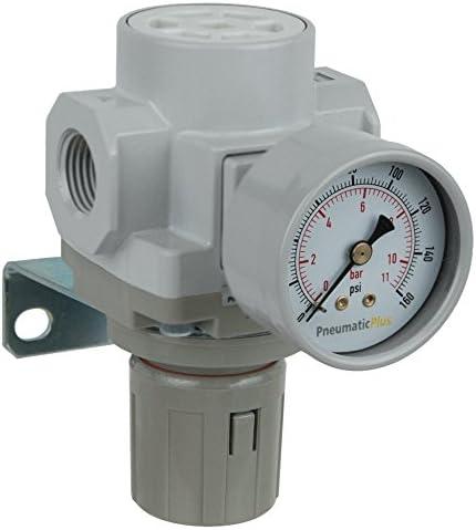 "PneumaticPlus SAR400-N04BG Compressed Air Pressure Regulator 1/2"" NPT - Bracket, Gauge"