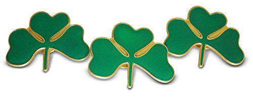 Irish Green Shamrock 3-Piece Lapel or Hat Pin &Tie Tack Set with Clutch Back by Novel Merk -