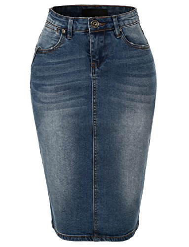 RK RUBY KARAT Womens High Waisted Denim Pencil Skirt With Stretch (Stretch Bleach Skirt Denim)