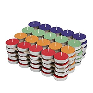 Amazon Brand – Solimo Colored Wax Tealight Candles (Set of 100, Unscented)
