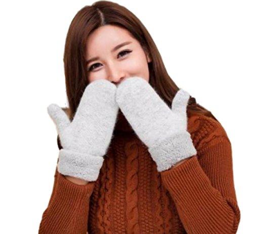 [マジックショップス] レディース ニット 手袋 ミトン グローブ 大きいサイズ ふんわり 防寒 保温 あったか シンプル