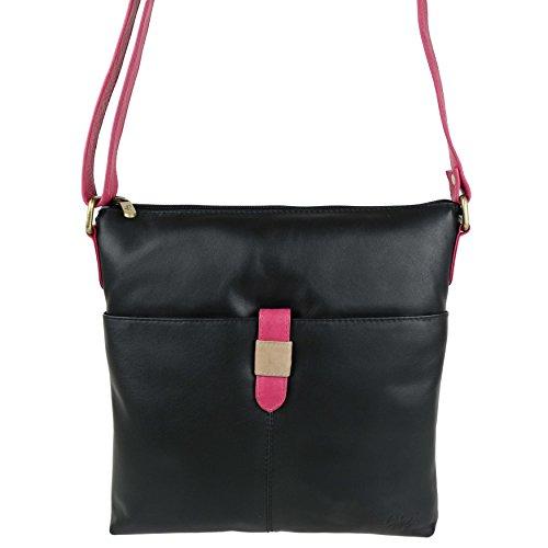 Black Leather Soft Medium bone By Ladies tone Body Two Handbag Slim magenta Cross Gigi Bag nx7TT4