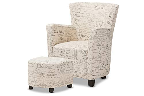 Baxton Studio Benson French Script Patterned Fabric Club Chair and Ottoman Set (French Club Chairs)