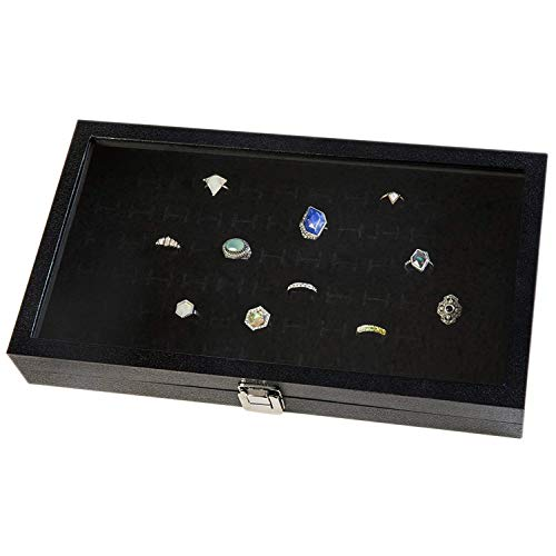 Huji Glass Top Ring Display Showcase with Velvet Insert Liner Jewelry Organizer (1, 72 Slot Case) ()