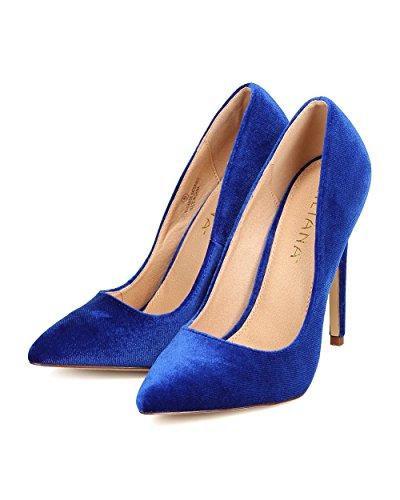 Liliana FB60 Women Velvet Pointy Toe Single Sole Stiletto Pump Blue fs9Qmqdcr5