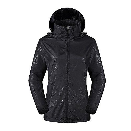 LeoVera Unisex UV Protect Quick-Dry Lightweight Windbreaker Outdoor Hoodie Skin Coat Skin Jackets LVPFY118-Black-M by LeoVera