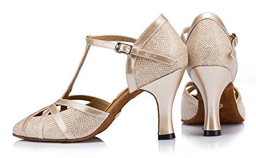 champagne Fermé Piste De Talon Danse 8cm strap Glitter nbsp;pour Chaussures T Paillettes Minitoo Heel Latine Salsa Qj6133 Pu Bout Cuir Femme Tango Haut OXIxRnSq7w