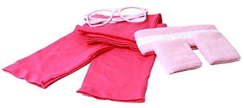 [80's Workout Girl Outfit Kit - (Bright Neon Colors) - Neon Pink] (Halloween Cute Nerd Costumes For Girls)