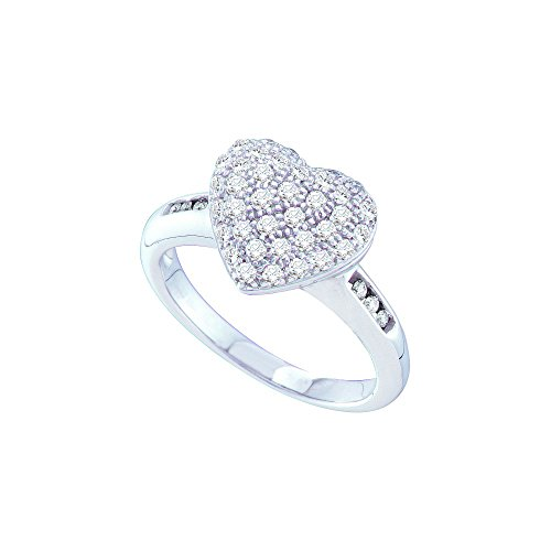 Jewels By Lux 14kt White Gold Womens Round Diamond Heart Cluster Ring 1/2 Cttw Ring Size 6