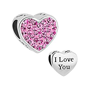 LilyJewelry I Love You Heart Pink Crystal Charm Bead for Bracelet