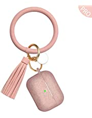 Vcegari Compatible with AirPods Pro Case with Cute Keychain, Durable Anti-Dust Shock-Proof Silicone Protective Cover Skin for Apple AirPods Pro Charging Case [Front LED Visible]