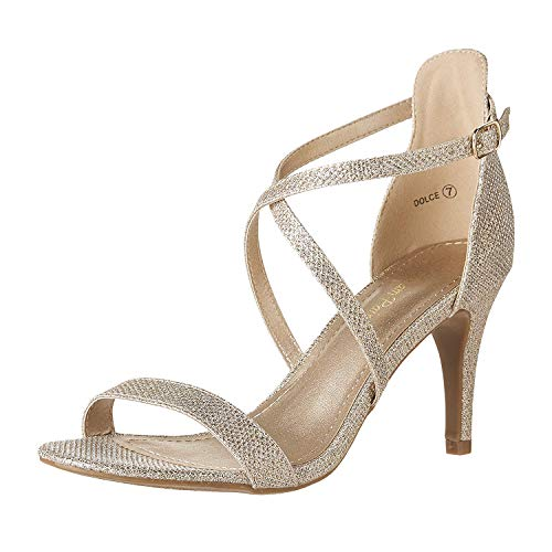 (DREAM PAIRS Women's Dolce Gold Glitter Fashion Stilettos Open Toe Pump Heel Sandals Size 9.5 B(M) US)