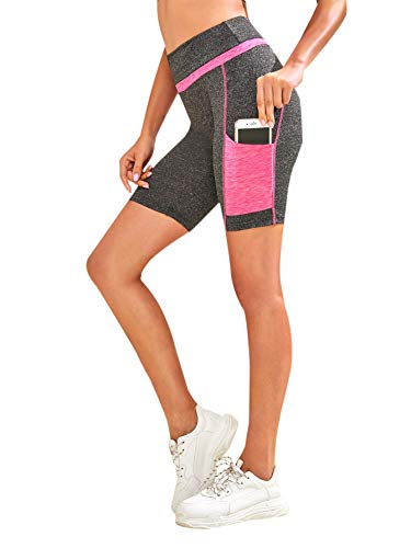 (SweatyRocks Women's Short Leggings Colorblock Running Cycling Shorts with Pocket Grey Pink X-Small)