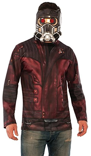 Guardians Costumes (Rubie's Costume Co. Men's Guardians of the Galaxy Vol. 2 Star-Lord Costume Top and Mask, Multi, Standard)