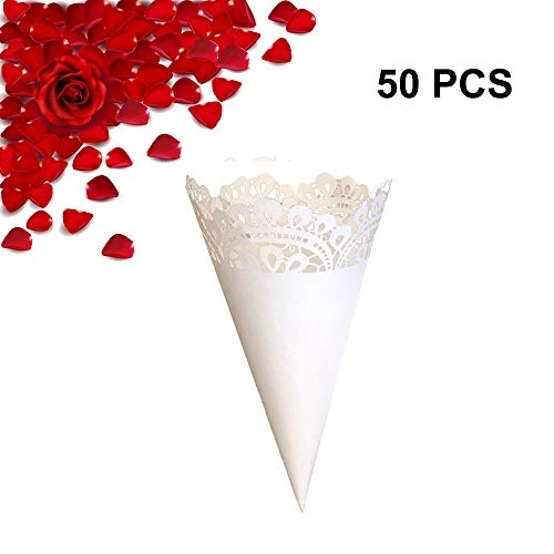 50PCS Wedding Paper Confetti Cones Hollow Print DIY Petal Toss Lace Cones Wrappers Surrounding Edge Candy Flower Plate Party Confetti Cones with Double Side Adhesive Tape by Giveme5 (Water -