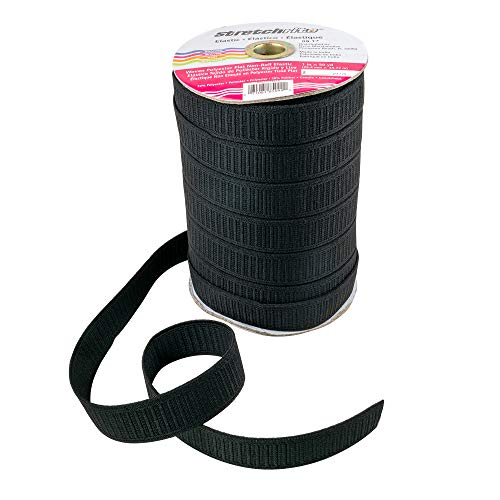 (Stretchrite Flat Non-Roll Woven Polyester Elastic Spool, 1-Inch by 50-Yards, Black)