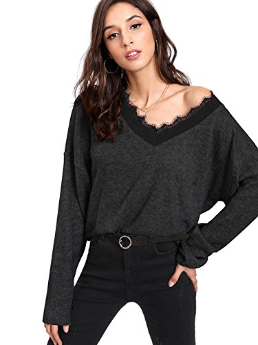 - Verdusa Women's Batwing Sleeve Sweaters Jumper Eyelash Lace Pullover Tops Black L