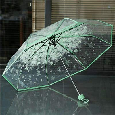 Autumn Water 1pc Three Fold Umbrella Women Transparent Clear Cherry Blossom Mushroom Apollo Sakura Folding Sunshade Rain Umbrella