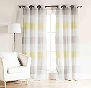 Amazon Com Set Of Two 2 Gray Yellow And White Sheer