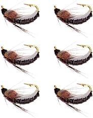 6pcs Nymph Scud Nymph Fly Fishing Flies Kit Fly Trout Bass Fishing- Fly Trout Fishing Lures Baits, High Simula