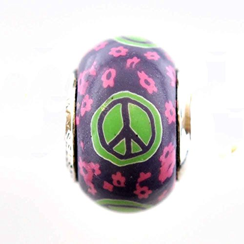 Peace Sign Flower Child 1960's Hippy Bead Charm for Add-A-Bead Bracelets Clay & Sterling Silver by MAYselect
