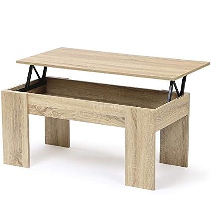 Table Basse Plateau Escamotable.Idmarket Table Basse Avec Plateau Relevable Bois Imitation Hetre