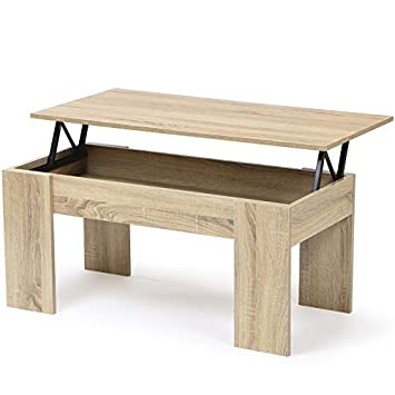 Idmarket Table Basse Avec Plateau Relevable Bois Imitation Hetre