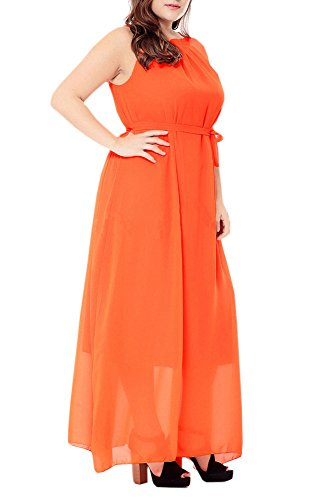 Floral Sleeveless Dresses Afibi Bohemian Orange Women's Print Chiffon Beach Maxi t17qT8