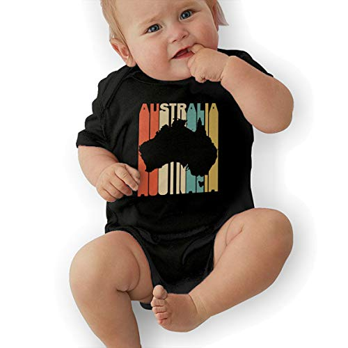 Short Sleeve Cotton Bodysuit for Baby Boys and Girls, Soft Retro Style Australia Silhouette Sleepwear Black -