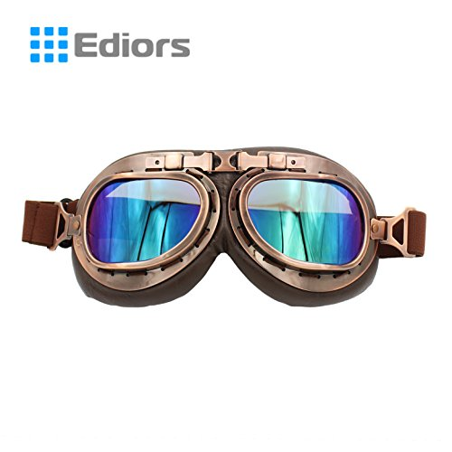 Ediors® Sports WWII Raf Vintage Aviator Pilot Style Motorcycle Cruiser Scooter Goggle T01 Transparent lens (Copper Frame, Multi-color Lens)