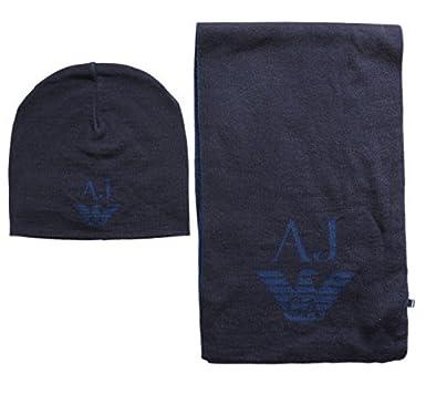 Armani Jeans écharpe Tricot Bonnet  sciarpa  Ensemble Cadeau - Bleu Foncé,  Taille 356394651f8