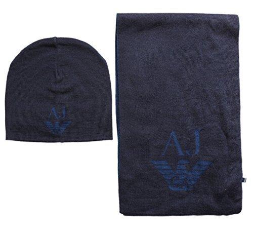 Armani Jeans écharpe Tricot Bonnet  sciarpa  Ensemble Cadeau - Bleu Foncé,  Taille e9627231d50f