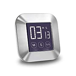 Number-One Digital Kitchen Timer Stainless Steel TouchScreen Cooking Timer Count Down/Count Up Timer with Loud Alarm Large Display Backlight Magnetic Back for Cooking Baking Sports Games