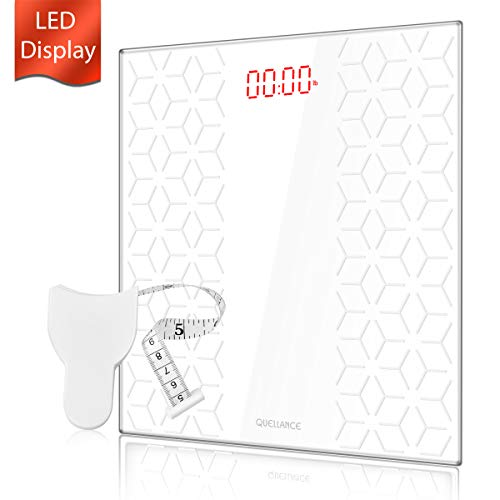 Digital Electronic Scales for Body Weight Bathroom Scale with Step-On Technology, Non-Slip Matte Platform, Up to 400 Pounds, Body Tape Measure Include, Tempered Glass with Large LED Backlight, White