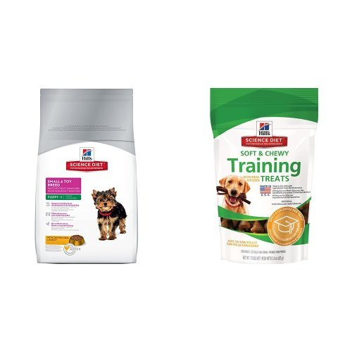 Hill's Science Diet Puppy Small & Toy Breed with Chicken Meal & Barley Dry Dog Food (4.5 pound bag) and Chicken Training Treats for Dogs (3 ounce bag)