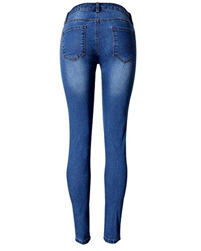Para Pantalones Jeans Azul Vaqueros Elásticos Skinny SaiDeng Leggings Mujer Slim qS07cwd