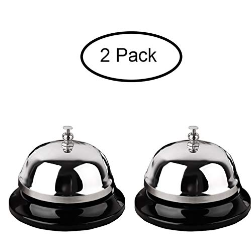 - Call Bell 2 Packs 3.35 Inch Diameter with Metal Anti-Rust Construction, Ringing, Durable, Desk Bell Service Bell for Hotels, Schools, Restaurants, Reception Areas, Hospitals, Warehouses(Silver)