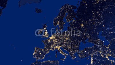 "Alu-Dibond-Bild 110 x 60 cm  ""Europe - Night"", Bild auf Alu-Dibond"