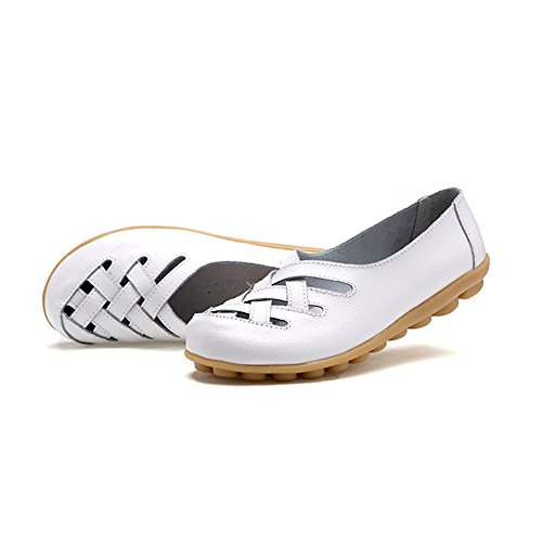 White Loafers Women's Soft Moccasins Leather Driving Casual Sandals Summer Flat Ablanczoom Comfortable Ladies Shoes O8RW5n5fx