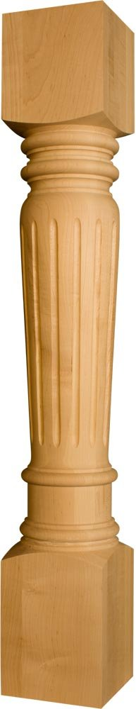 Massive Fluted Kitchen Island Leg in Soft Maple - Dimensions: 34 1/2 x 5 inches