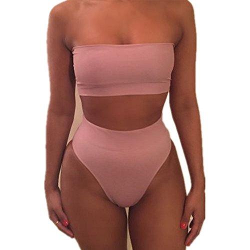 Kosie Women Bandeau Top High Waist Bottom Bikini Set Summer Swimwear Sexy Beach Swimsuit Bathing Suit Two Pieces-No (1 Piece Bandeau Swimsuit)