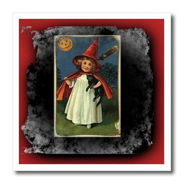 3dRose ht_6195_2 Vintage Halloween Witch Girl and Black Cat Iron on Heat Transfer for White Material, 6 by 6-Inch ()