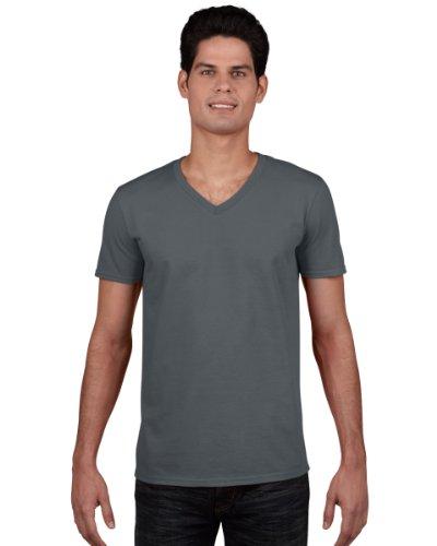 Gildan Men's Soft Style V-Neck T-Shirt-Charcoal-sizeM M,Charcoal