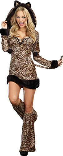 Dreamgirl Womens Cheetah Luscious Leopard Print Velvet Adults Halloween Costume, S (2-6) (Cheetah Costumes For Adults)