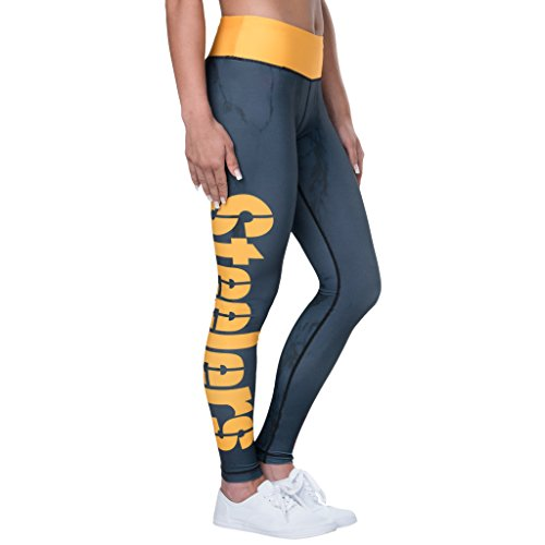 Forever Collectibles Pittsburgh Steelers Women's Marble Wordmark Leggings (Medium)