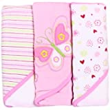 Spasilk Soft Terry Hooded Towel Set, Pink Butterfly,...