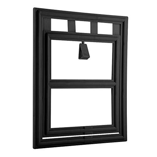 Estink- Pet Door, Plastic Pet Dog Puppy Cat Door Magnetic Locking Safe Flap for Screen Window Gate(Black)