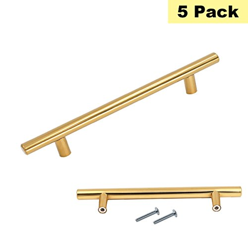 5inch Polished Brass Drawer Pull Cabinet Handles - 5Pack Peaha PH201PB128 Gold Kitchen Door Hardware Drawer Dresser Knobs Stainless Steel 7-1/2inch Overall Length Cabinet Drawer Pulls Polished Brass