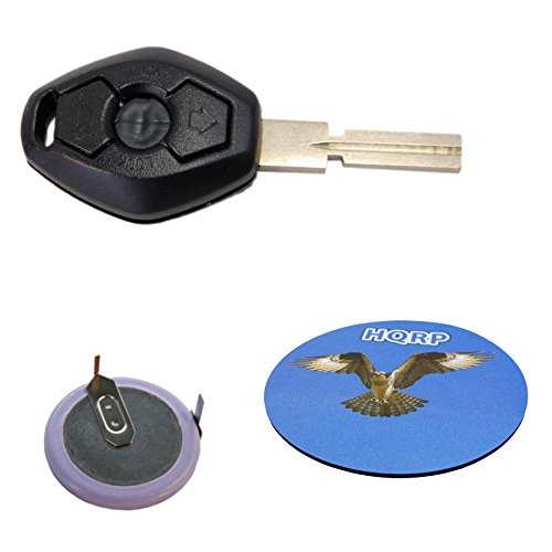 HQRP Kit Transmitter and Battery for BMW X5 E53 2000 2001 2002 2003 2004 2005 2006 2007 2008 2009 Key-Fob Remote Shell Case Cover Smart Key Keyless FOB + Coaster Bmw X5 Battery
