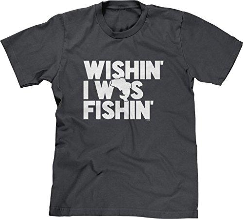 Charcoal River Wash T-shirt (Blittzen Mens T-shirt Wishin I Was Fishin, M, Charcoal)